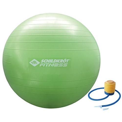 Schildkröt Fitness ballon de gymnastique 75cm, ballon anti-éclatement robuste avec pompe en PVC sans phtalate, couleur: vert, 960057