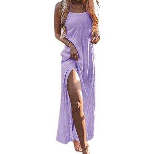 Vestido Larga Suelto de Mujer Elegante Falda Tirantes de Vestido Maxi Hombro Manga Sin Vestido Ligero Verano Dress Casual Playa Playa 2018 Casual Morado Noche 1ww0dpqT