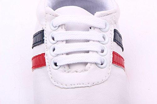 YICHUN bebé niña suave zapatos zapatillas zapatos de Prewalker cuna zapatos de ocio rayas rosa rosa Talla:Sole Length:12cm/4.7 inches blanco