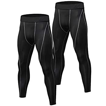 Niksa 2 Pack Men's Compression Pants Cool Dry Gym Workout Running Leggings Baselayer Sports Tights