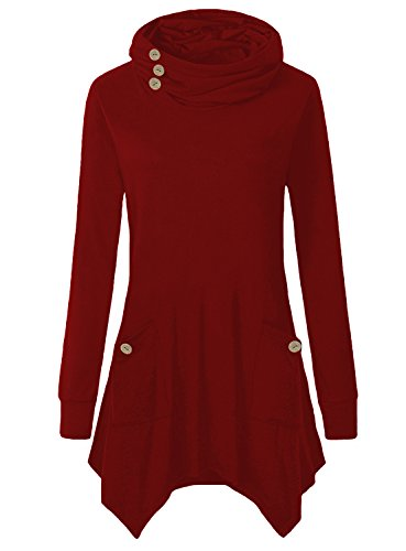 Comfort Neck Button (Yibye Tunic Blouses For Women, Turtleneck Solid Comfort Tee Shirts With Decorative Buttons (Red, S))