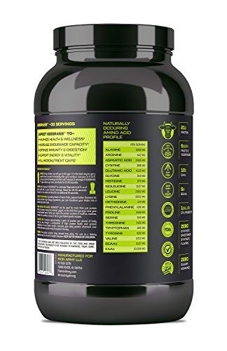 Iron Army Isograss Premium Natural Grass Fed Whey Protein Isolate, Probiotics, MCT, Spirulina, Barley Grass, Greens Vanilla Caramel 30 Servings