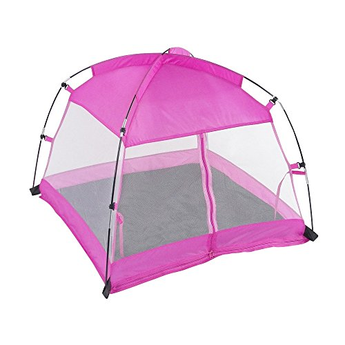 18 Inch Doll Accessories | Amazing Pink Dining Canopy Camping Tent, includes Matching Carry Case | Fits American Girl Dolls