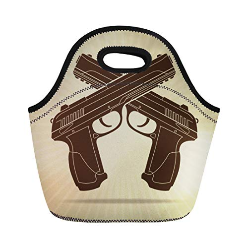 Semtomn Neoprene Lunch Tote Bag Gun Retro Styled Crossed Pistols Silhouette Police Badge Military Reusable Cooler Bags Insulated Thermal Picnic Handbag for Travel,School,Outdoors,Work ()