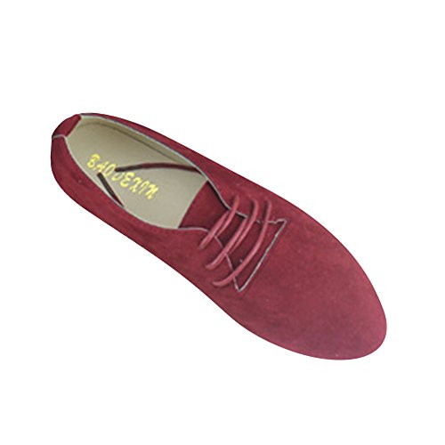MISSMAO Women's Loafers Ladies Comfy Ballet Shoes Female Soft Casual Lace-up Flat Boat Shoes Wine Red uLYIa
