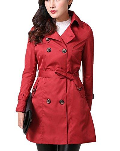 Coat Pecho Casual Rojo Larga De Con Doble Mujeres Cinturón Gabardina Sólido Color 7vqPTEnCx