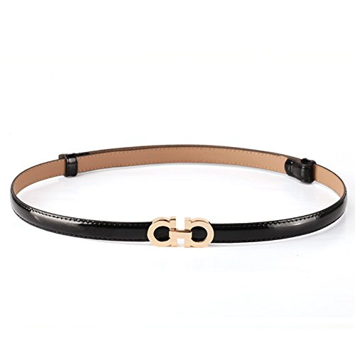 MoYoTo Women's Stylish Thin Patent Leather Gold Skinny Waist Belts For Dresses (Black)