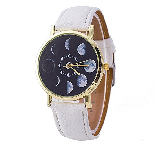 Vavna Teen Girls Boys Moon Phase Astronomy Space Watch Unisex Leather Quartz Student Watches  White