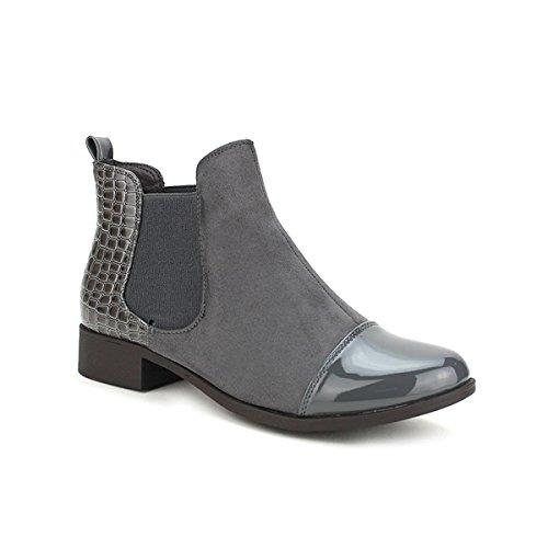 Cendriyon Moda Grise Gris C'm Femme Matière Chaussures Bottine Bi 7xrPaq17