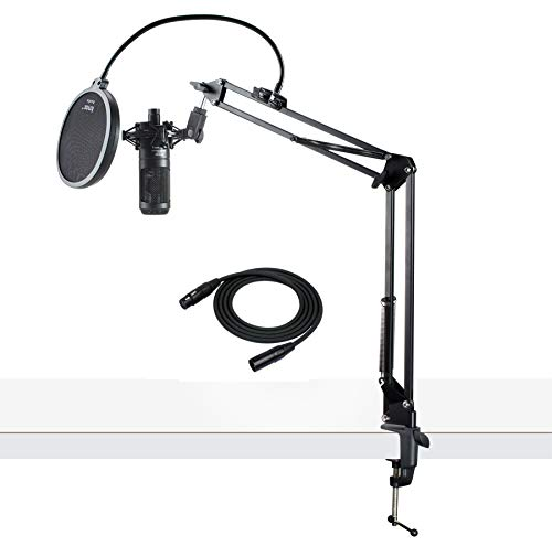 (Audio-Technica AT2035 Cardioid Studio Condenser Microphone with Knox Gear Pop Filter & Boom Arm)