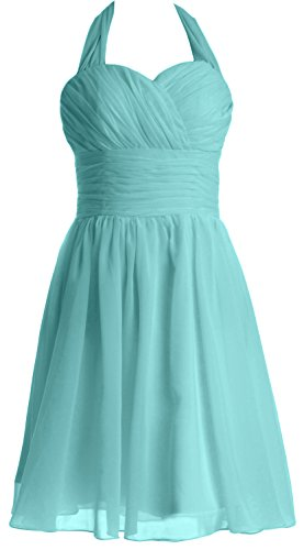 MACloth Women Short Chiffon Bridesmaid Dress Halter Wedding Party Formal Gown Turquesa