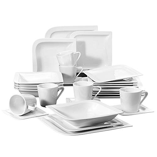 Malacasa, Series Joesfa, 30-Piece Ivory White Porcelain China Ceramic Cream White Dinner Combi-Set with Cups Saucers Dessert Plates Soup Plates and Dinner Plates Dinnerware Sets Service for ()