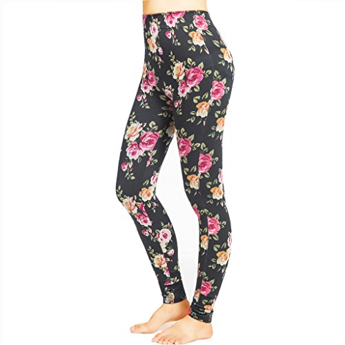 Afrodita Women's Printed Leggings Active Workout Gym Yoga Pants(Black Rose,L/XL)