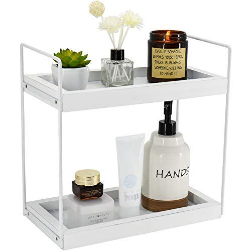 2 Tier Bathroom Organizer Countertop Storage Shelf, Bathroom Rack for Makeup Cosmetic Perfume Skincare Bathroom Supplies…
