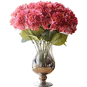 Anlise 5 Big Heads French Hydrangea Artificial Flowers Beautiful Silk Bunch Bouquet for Wedding Home Garden Floral Decor (Rose RED) 2