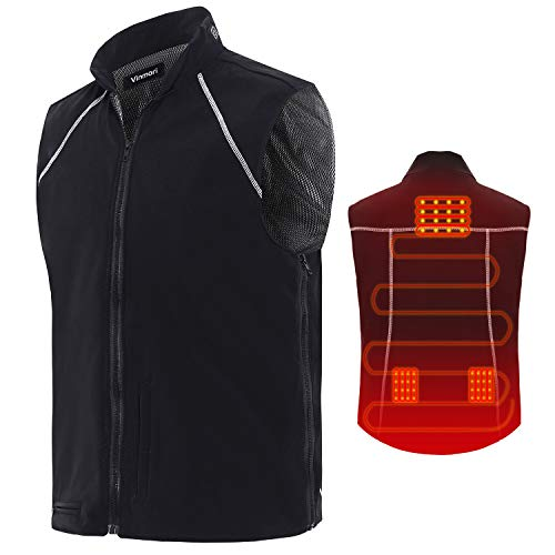 Vinmori Electric Heated Vest Washable Size Adjustable Fleece Soft Texture USB Heated Clothing for Motorcycle Snowmobile Bike Riding Hunting Golf (Battery Not Included) (Black w)