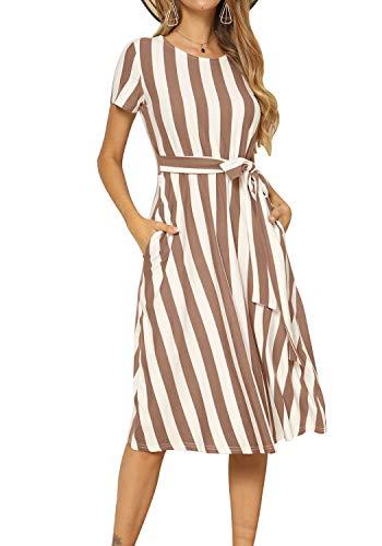 Womens Casual Short Sleeve Loose Swing Pockets Midi A Line Dress Coffee S ()