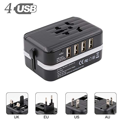 Universal Travel Adapter, All-in-one Worldwide Travel Charger International Power Adapter with 4 USB Ports, AC Plug for…