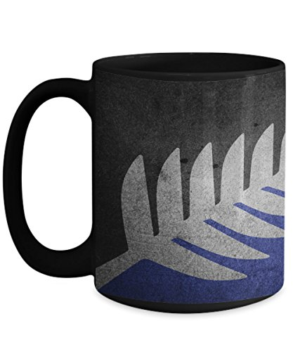 New Zealand Gifta - Alternative Fern Flag Coffee Mug - NZ Related Gifts for Baskets Gift Set for Women Him Black Tea Cup Gifts Ideas