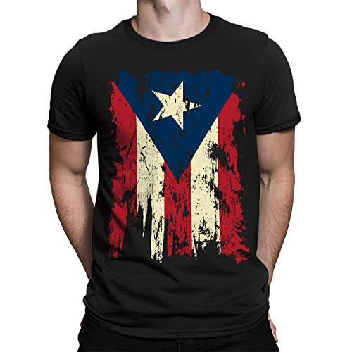 SpiritForged Apparel Vintage Distressed Puerto Rico Men's T-Shirt, Black 2XL (Mens T-shirt Distressed)