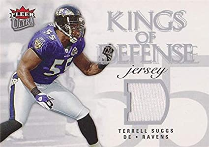 Terrell Suggs player worn jersey patch football card (Baltimore ...