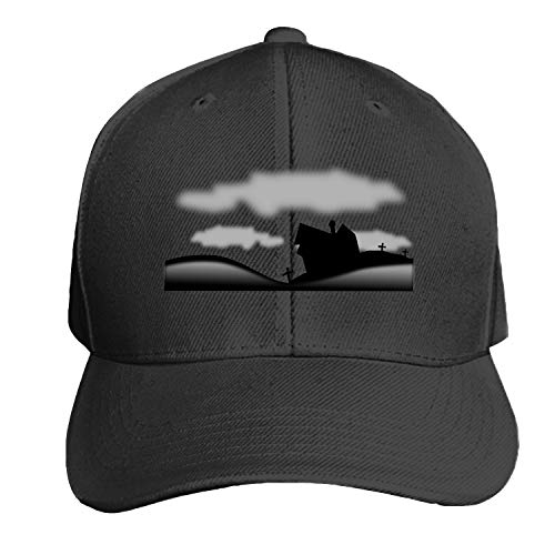 Customized Unisex Haunted Halloween Rip Black Dead Silhouette Trucker Baseball Cap Adjustable Peaked Sandwich Hat