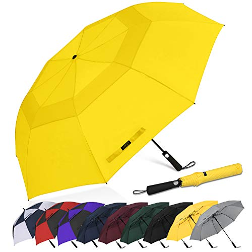 G4Free 62 Inch Portable Golf Umbrella Large Oversize Double Canopy Vented Windproof Waterproof Auto Open Folding Umbrellas(Yellow)