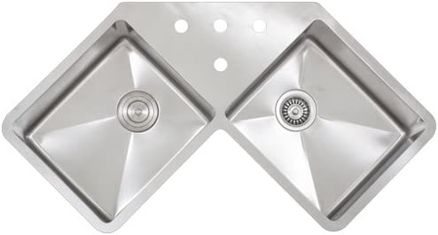 Ticor 36 Tr 1400 Undermount Double Equal Bowl Stainless Steel 16 Gauge Corner Butterfly Square Hand Made Kitchen Sink With Tight Radius Corners Amazon Com