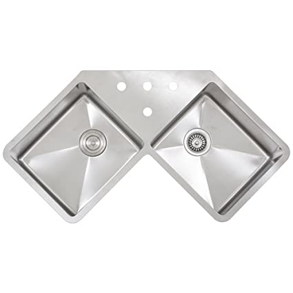 Ticor 36u0026quot; TR 1400 Undermount Double Equal Bowl Stainless Steel 16  Gauge Corner Butterfly