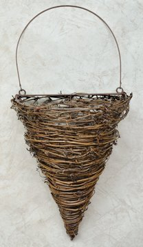 Vine Cone Pocket Wall Basket Country Primitive Décor ()