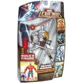 (Marvel Legends Build A Figure Collection Red Hulk Series 6 Inch Tall Action Figure - Silver Savage with Mace, Sword, Surfer Board and Red Hulk Right Leg)