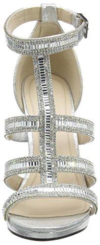 argento High Sandals Donna Diamante Cage Quiz Scarpe Strap Argento Spuntate F1azwaqxAn