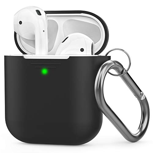 AHASTYLE AirPods Case Silicone [Front LED Visible] Compatible with Apple AirPods 2 (2019) and AirPods 1(with Carabiner, Black)
