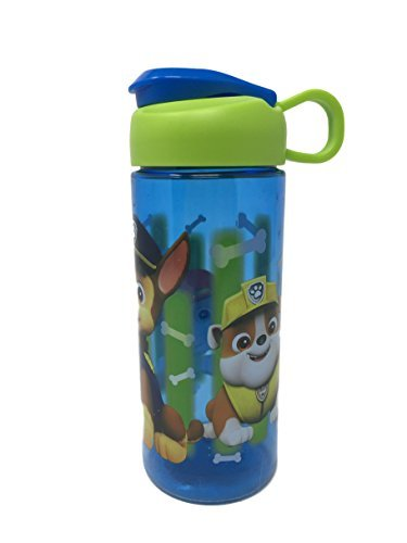 Zak Designs BPA Free 16.5 oz Boys & Girls Licensed Character Cold Water Bottles -Carry Loop & Snap Lid (Paw Patrol Blue Bone Print)