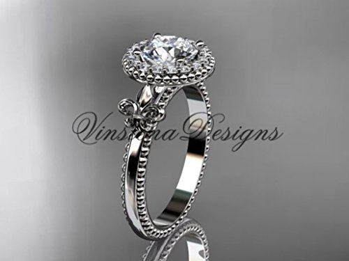 Platinum diamond Fleur de Lis engagement ring VD10063