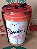 Starbucks 2015 Red Dot Collection Florida Pink Flamingos White Travel Tumbler Christmas Tree Ornament