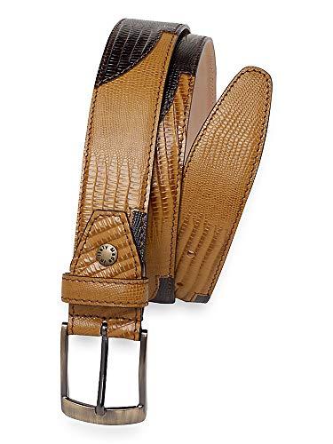 Paul Fredrick Men's Theodore Embossed Leather Belt Camel/chocolate 34