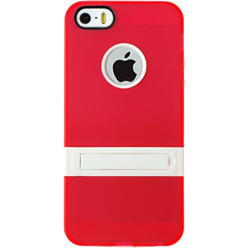 PhoneNatic Case für Apple iPhone 5 / 5s / SE Hülle Silikon rot Aufstellbar Cover iPhone 5 / 5s / SE Tasche + 2 Schutzfolien