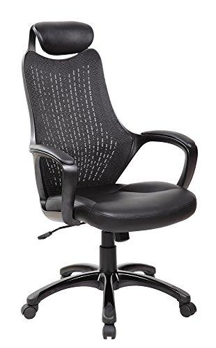EuroStile Ergonomic High Back Executive Mesh Office Chair with Headrest Black 8114BK