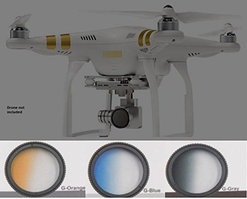 { GRADUATED FILTER SET FOR DJI } Phantom 4, Phantom 3 Advanced, Professional Quadcopter 4K UHD Video Camera Drone Filter Kit Includes: Gradual ND, Graduated Orange, Graduated Blue Filters