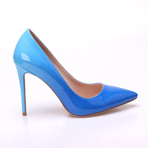 Stiletto Zapatos Bomba ZAPROMA Tacón alto Mujer Azul on Slip wHFx0qT5x