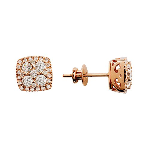 D'sire 18k Rose Gold Diamond Stud Dangling Fine Earrings Jewelry for Women TDW 1.030 carats
