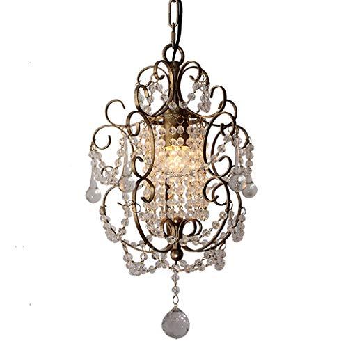 (&Chandelier Crystal K9 Ceiling Chandelier American Restaurant Bedroom Bedside Wrought Iron Single Head Lamp Small Chandelier%Chandeliers (Color : Warm Light))