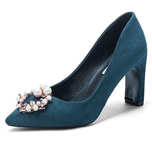 Blue Eleganti Perla Donne In Scarpe Plnxdm Alti Pompe Scamosciata Finta Tacchi Alto Pelle Fibbia Corte Da Tacco tBaq4w