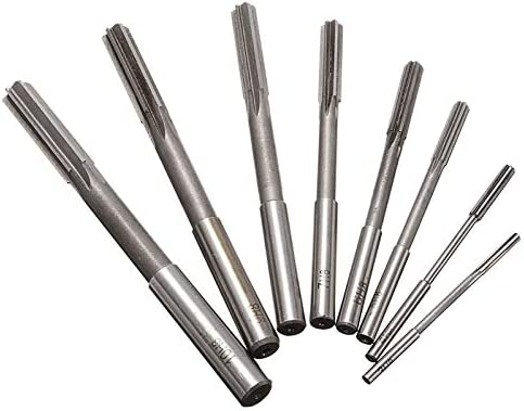 GENERICS LSB-Werkzeuge, 8 stücke Handreibahle 3/4/5/6/7/8/9 / 10mm Zylinderschaft H8 HSS Reibahlen Set Fräser Werkzeug for Bohrungsbearbeitung