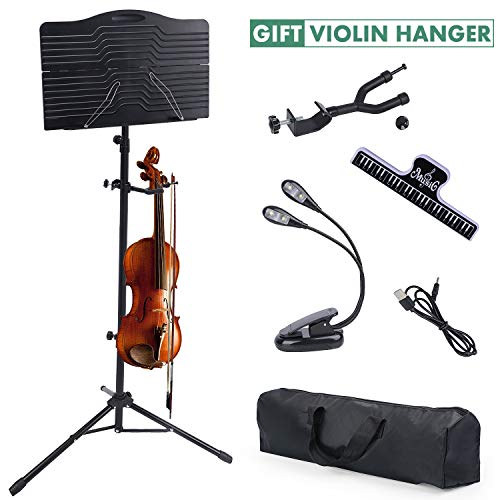 Sheet Music Stand, Klvied Portable Folding Violin Music Stands, Adjustable Sheet Music Book Holder Kit for Kids, Adult Instrument Performance with Violin Hanger, Carrying Bag, Black