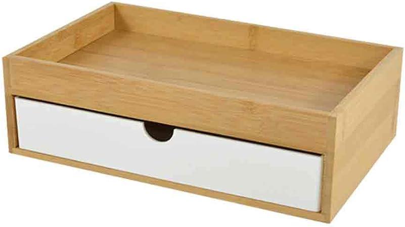 QBCNM - Caja de almacenamiento para cajones de estilo japonés, organizador de bambú para almacenamiento de cosméticos, contenedor de escritorio de madera para oficina o hogar, color blanco: Amazon.es: Hogar