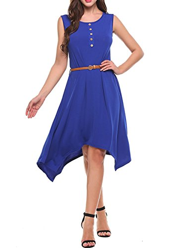 Dresses Hem Hankerchief (Qearal Women's Sleeveless Handkerchief Hem Loose Fitting Plus Size T-Shirt Dress (XXL, Blue))