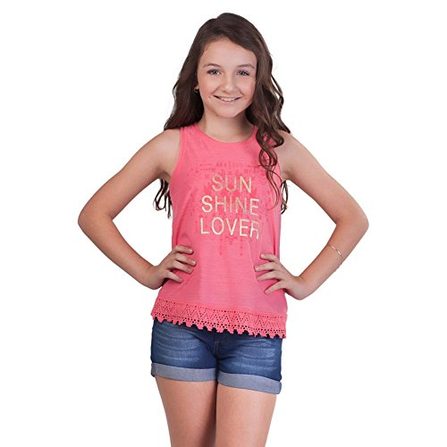 Pulla Bulla Big Girl Lace Tank Top Teen Graphic Sleeveless Tee Size 10 (Sleeveless Graphic Tee)