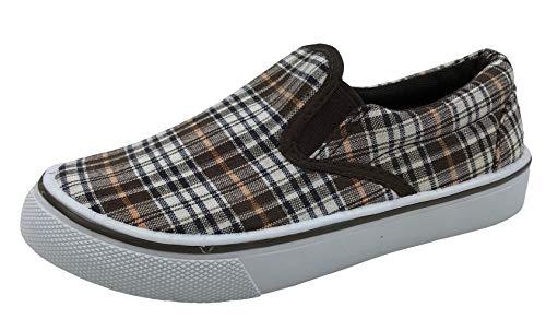 Kid's Classic Slip On Canvas Sneaker Tennis Shoes, Brown Plaid, 3 Boys ()